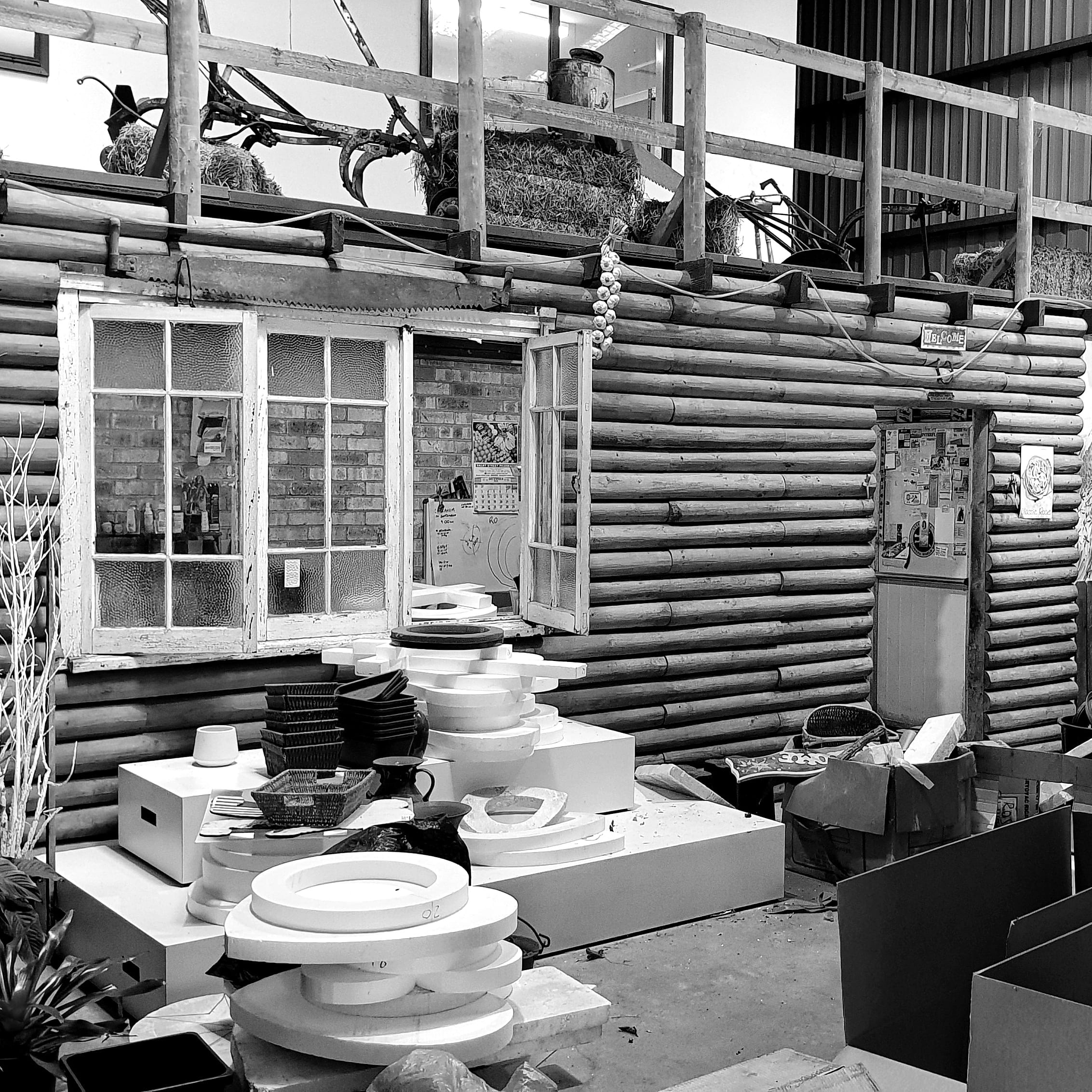 Photo of farm shop before, black and white